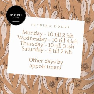 *UPDATED TRADING HOURS*  We are often open everyday but if the doors are closed - we are likely working nearby in our workshop and are happy to open up for you should you call outside the above hours.  #trading #storenotice #update #hours #comein #store #brickandmortar #inspired #create #design #nsw